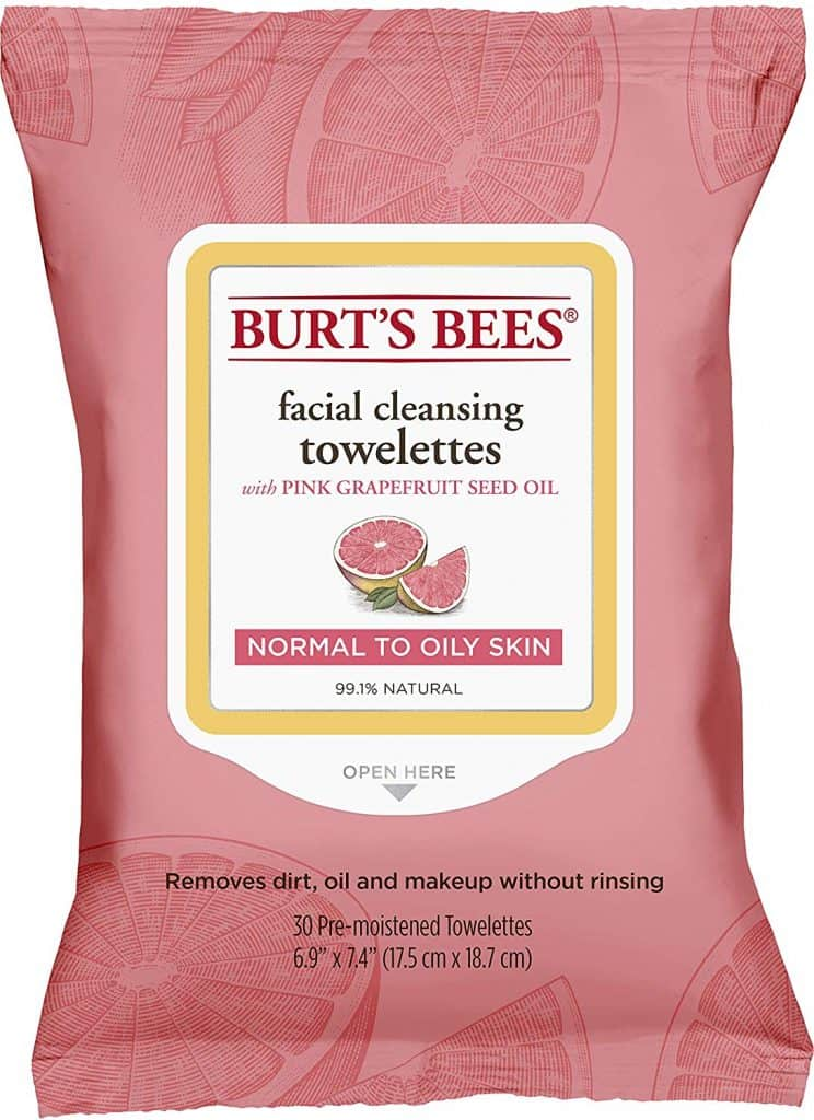 Burt's Bees grapefruit face wipes, face cleaning wipes