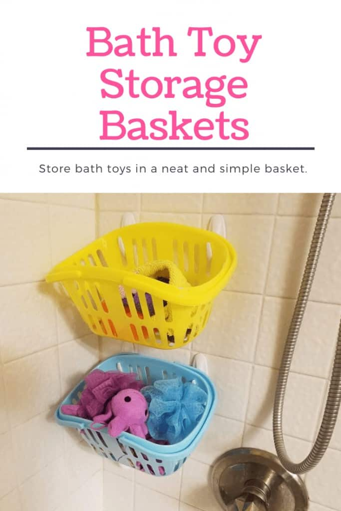 Kids bath toy storage with Dollar Store baskets and Command Hooks