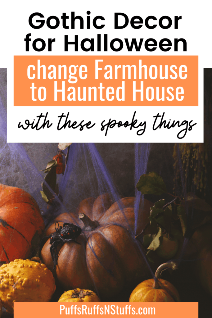 From Farmhouse to Haunted House - check out these picks to decorate your house this Halloween. Find great ways to decorate your house with these Gothic Halloween Decor Pics. Decorate your house for Halloween. Halloween party decor. #AD #Halloween #HalloweenDecor