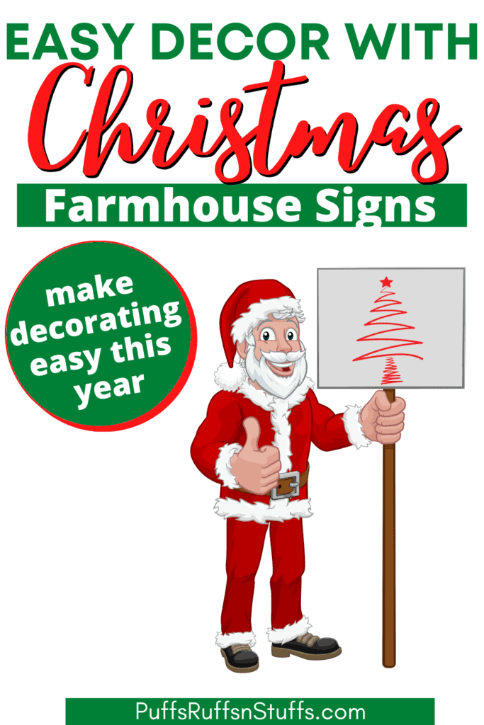 Easy decor with Christmas Farmhouse Signs - make decorating easy this year. Why stress about holiday decor? Relax and enjoy the Christmas season with these great Christmas farmhouse signs. #AD #ChristmasDecor #PuffsRuffsNStuffs.com