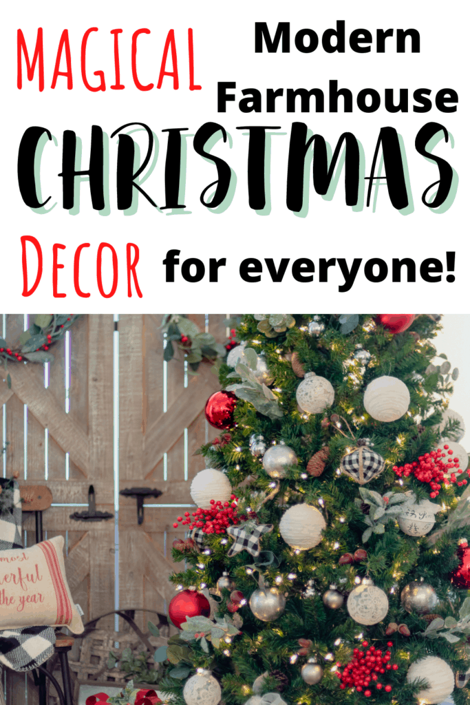 Magical modern farmhouse Christmas decor for everyone! These great farmhouse decor pieces for Christmas are perfect to get your home all decorated for Christmas. Check out these rustic farmhouse Christmas decor pieces! #AD #ChristmasDecor #Christmas #FarmhouseDecor #FarmhouseChristmas
